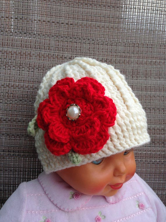 8961ca2ed baby girl hat 3-6 monthscrochet hat RTS off-white fall