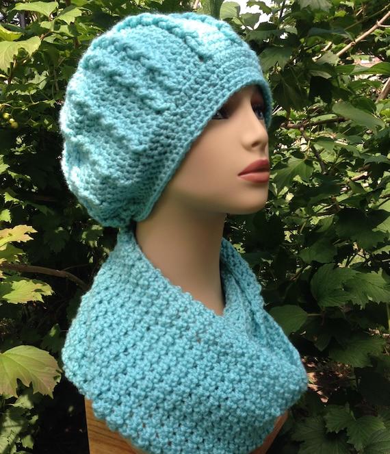 732892f233b7 ensemble bonnet et écharpe pour femme au crochet bleu rts   Etsy