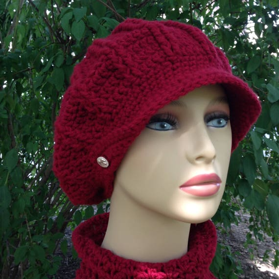 1f91d22ab67 women hat and scarf set crochet red rts winter hat