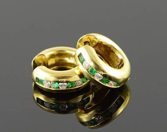 Diamond and Columbian emerald 18k solid gold huggie earrings heavy 10.6g