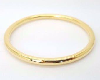 Plain tube hollow bangle bracelet classic solid yellow gold 9k