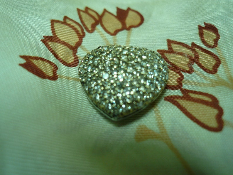 Diamond puffy heart 14k solid white gold pendant or vintage charm earth mined diamonds