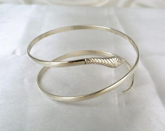Sterling silver serpent bangle hallmarked vintage 20g slim snake bracelet