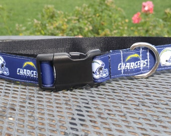 San Diego Chargers football inspired dog collar
