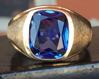 5 Carat Created Blue Sapphire 10k Yellow Gold Ring