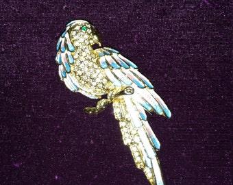 Vintage Exotic Bird Swavorski Studded and Enameled Brooch