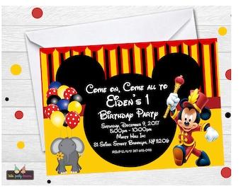Mickey Circus Invitation   Mickey Carnival Invitation   Mickey Mouse Carnival Invitation   Mickey Mouse Circus Invitation   Circus Invites