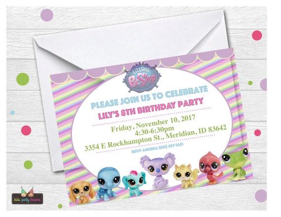 Littlest Pet Shop Invitation Lps Invitation Littlest Pet Etsy