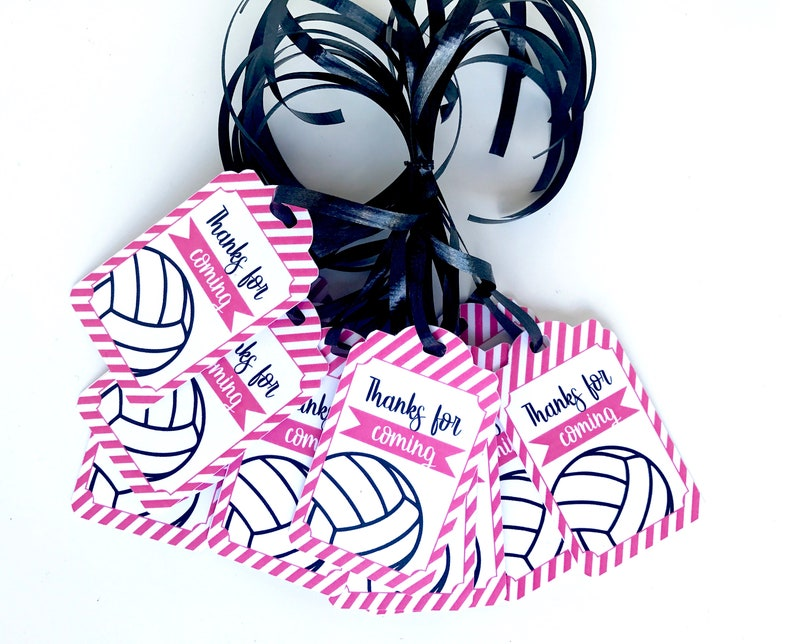 Pink Volleyball Thank You Tags 12pcs Volleyball Party Favors Etsy
