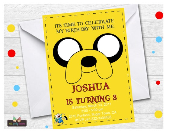 Adventure Time Invitation Jake And Finn Invitation Finn Etsy