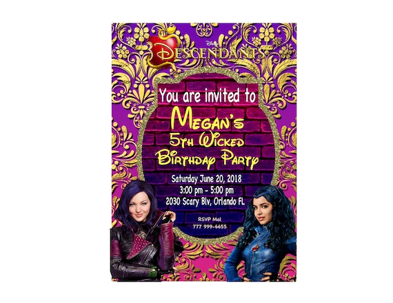 Disney Descendants Printable Birthday Invitation Party Invitations