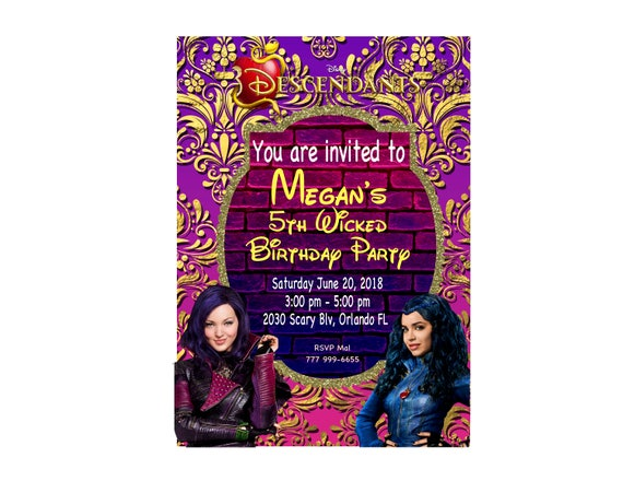 Printable Disney Descendants Birthday Party Invitations