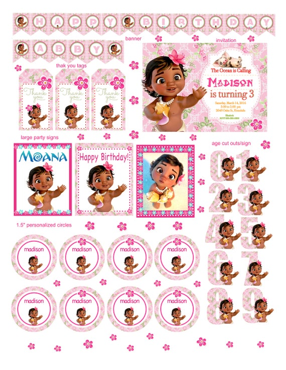 Baby Moana Party Package Invitation