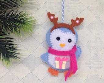Penguin Christmas ornaments-Penguin ornament-Felt ornaments-Felt Christmas ornament-Blue ornament-Felt penguin-Blue felt ornaments-Penguin