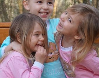 Kids Easter Pajamas, Girls Spring Pajamas, Boys Spring Pajamas, Easter pj's, Toddler Easter Pajamas, Personalized Easter Pajamas, bunny pj's