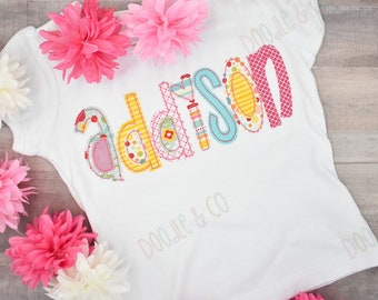 Summer Alphabet Applique Short Set, Girl Name Applique Tank Top Shirt, Toddler Summer Vacation Short Set, Beach Shirt, Girl Personalized