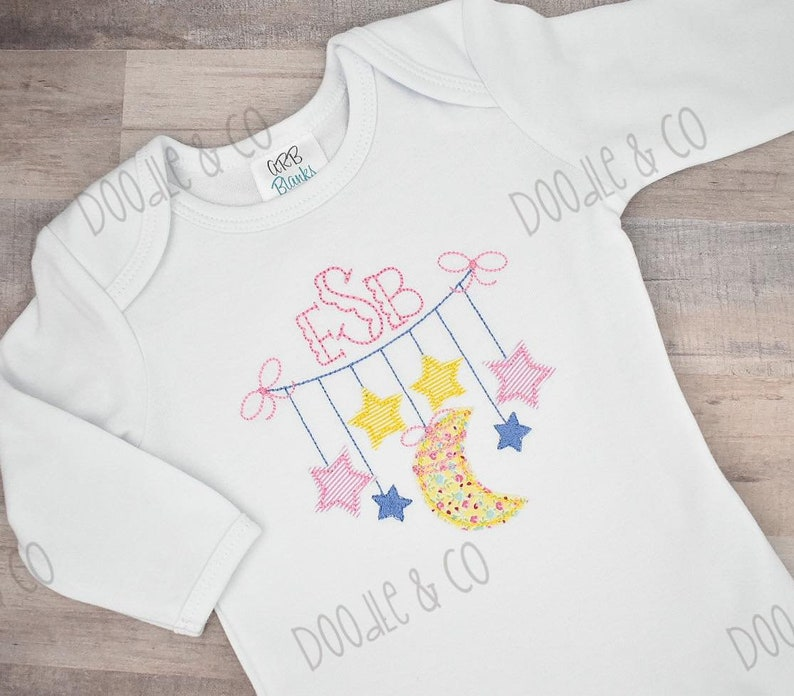 Baby Shower Gift Monogram Newborn Girl Gown Moon and Stars Personalized Baby Girl Gown New Baby Girl Gift Coming Home Baby Girl Gown