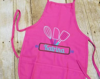 Kids personalized apron, child apron, kids Valentine apron, personalized apron, boy apron, girl apron, kids kitchen apron, rolling pin