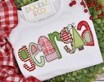 Applique Alphabet Personalized Name shirt, Christmas Alphabet Personalized Pant Set, Christmas Girl Shirt, Toddler Girl Christmas Shirt,