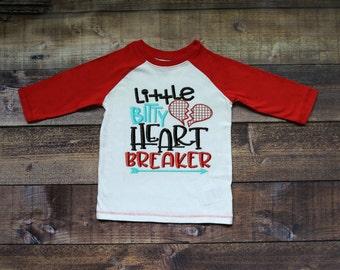 Little Bitty Heartbreaker Valentine Boys Raglan Sleeve Shirt