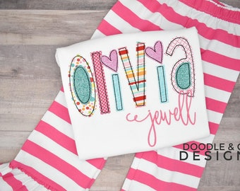 Girl Alphabet Applique Name Shirt, Christmas Girl Gift, Girl Alphabet Name Custom Pant Set, Girl Birthday Outfit, Personalized Boutique Gift