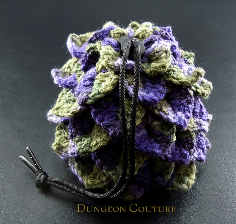 Spiky Purple and Green Crochet Dragon Scale Dice Bag image 0