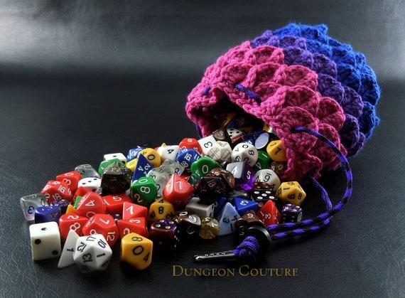 Rainbow Pride Crochet Dragon Scale Dice Bag