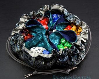 Pocketed Satchel Dice Bag, Black and Blue brocade, 15 inch diameter