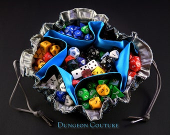 Pocketed Pouch Dice Bag, Black and Blue Paisley brocade, 13 inch diameter.