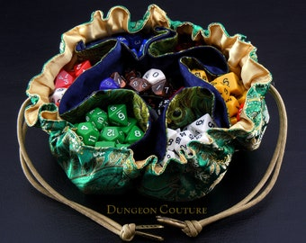 Pocketed Satchel Dice Bag, Green and Gold Paisley brocade, 15 inch diameter.