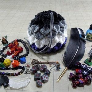 Transsexual Pride Crochet Dragon Scale Dice Bag