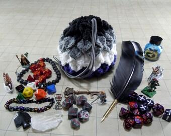 Asexual Pride Crochet Dragon Scale Dice Bag