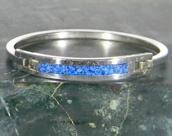 "Mexico Alpaca Silver 5-3/8"" Vintage Childs Hinge Bracelet Blue Crushed Stone Inlays N17"
