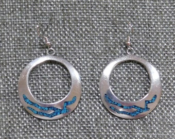 """Taxco Mexico Signed """"TC-29"""" 925 Sterling Silver Vintage Dangle Earrings Chipped Turquoise Inlays"""