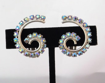 Vintage Blue Curved Clip Earrings with AB Crystal Rhinestones Rhodium Plated VJ4