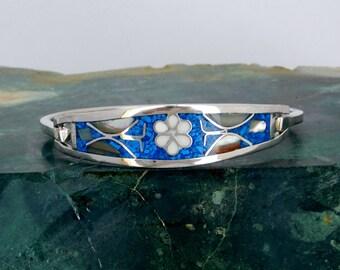 Taxco Mexico Alpaca Silver Abalone Bracelet 6-38 Vintage Blue Stone Shell Inlays A30