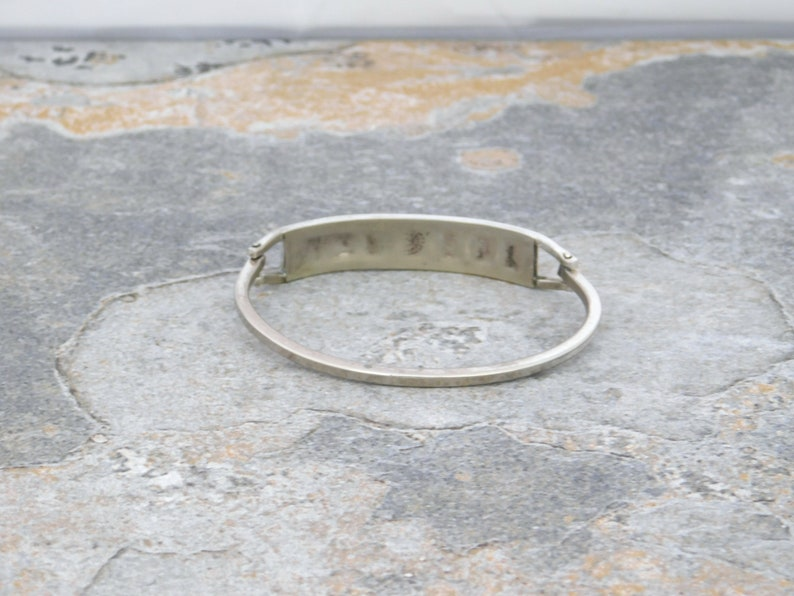 Abalone Mexican Bracelet Alpaca Silver 6-34 Vintage Hinged Shell Black Enamel J48