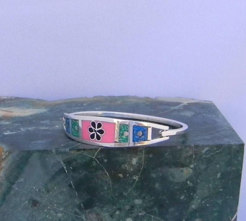 Mexican Silver Alpaca Bracelet 6-34 Vintage Hinged Pink Enamel Blue Green Stone Inlay J04