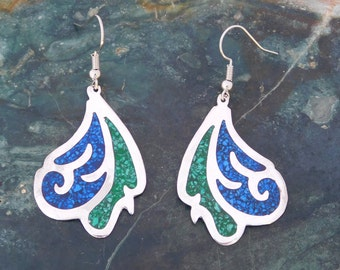 Mexico Alpaca Silver Vintage Dangle Earrings Crushed Blue Green Stone Inlays L13