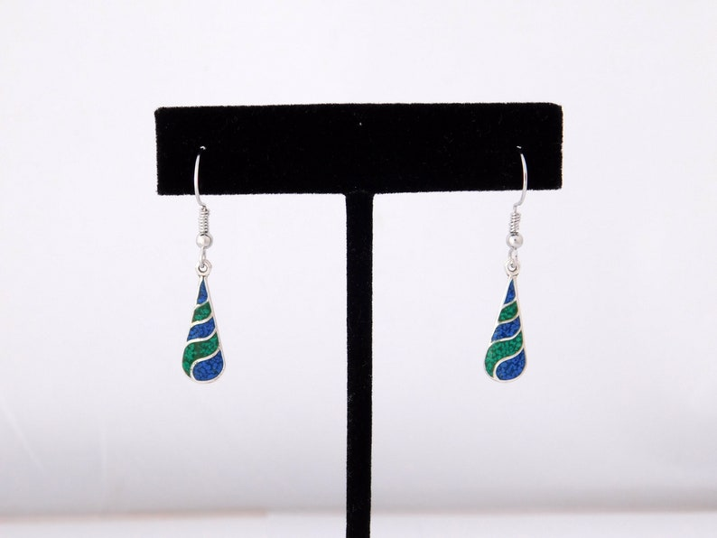 Taxco Mexican 925 Earrings Sterling Silver Vintage Dangle Green Blue Stone Inlays K32