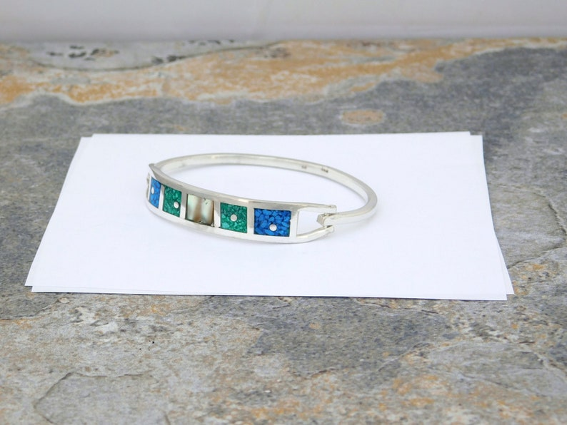 Mexican Bracelet Abalone Shell Inlay Alpaca Silver 6-58 Vintage Blue Green Stone D02