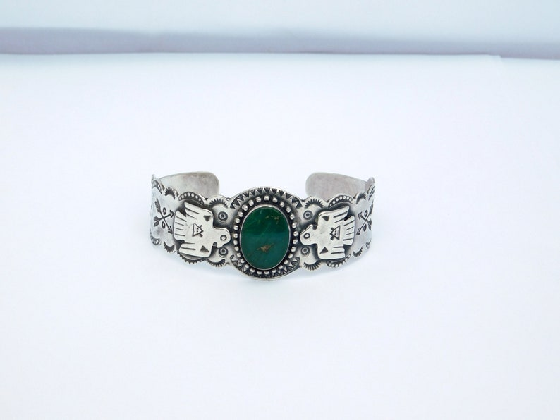 FRED HARVEY HOUSE Southwest Sterling Silver Cuff Bracelet Green Turquoise 7 Very Vintage