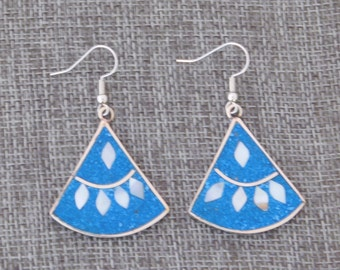 Mexico Alpaca Silver Vintage Dangle Earrings Abalone Shell Crushed Blue Stone Inlays X31