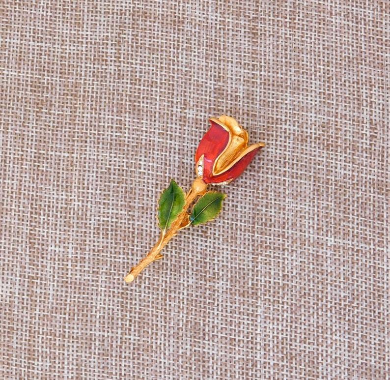 Vintage Brooch Rose Flower LIA Clear Crystal Rhinestones Reddish Orange Enamel Goldtone VJ03