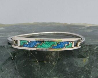 "Mexico Silvertone 6-1/4"" Vintage Hinge Bracelet Blue Green Crushed Stone Inlays B4"