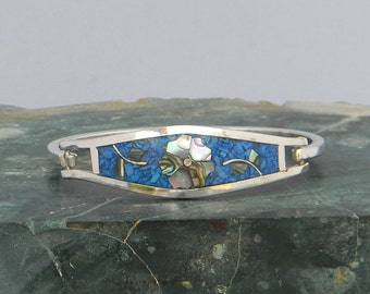 "Taxco Mexico Silvertone 6-1/2"" Hinge Bracelet Abalone Shell & Crushed Blue Stone Inlays QQ46"