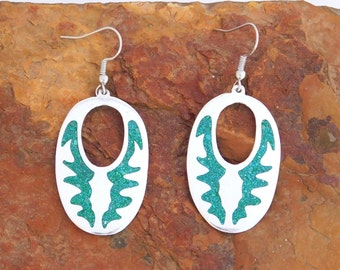 Mexico Alpaca Silver Vintage Dangle Earrings Mayan Crushed Green Stone Inlays X42