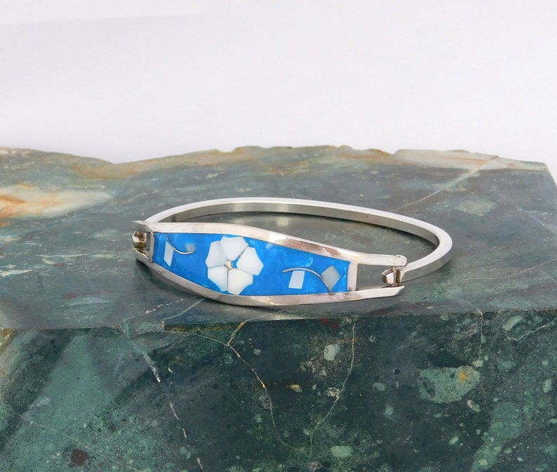 Taxco Mexico Abalone Bracelet Alpaca Silver 6-34 Vintage Mother of Pearl Inlay Blue Enamel AA2