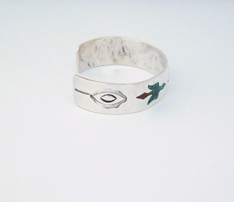 Southwestern Bracelet 925 Silver Cuff Turquoise /& Red Coral Inlays 6-34 Vintage Peyote Bird
