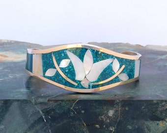 """Mexico Alpaca Silver 6-5/8"""" Vintage Cuff Bracelet Abalone Shell Blue Crushed Stone Inlay T57"""